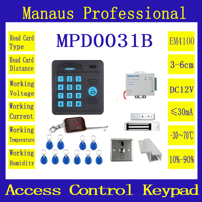 Hot Selling Door Access Control Controller ABS Case RFID Reader Keypad Remote Control 10 ID cards Magnetic Lock D31b lpsecurity 10 tags or 10 cards 125khz gate door lock rfid keypad proximity reader access controller wg26 input for slave reader