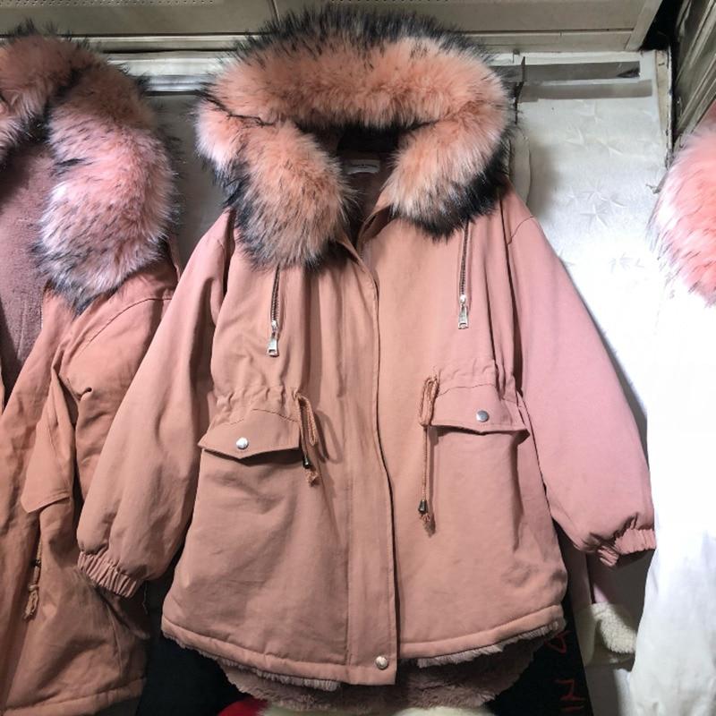 ④Frauen Winter Neue Dicke Beflockung Warme Parka Damen Mode