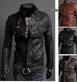 Boutique moda 2015 nuevos hombres de la chaqueta de cuero corea desfiles shall delgada de la PU de la alta calidad del envío gratis