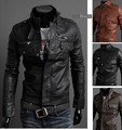 Fashion boutique 2015 new men's leather jacket Korean catwalks shall Slim leather jacket PU high quality free shipping
