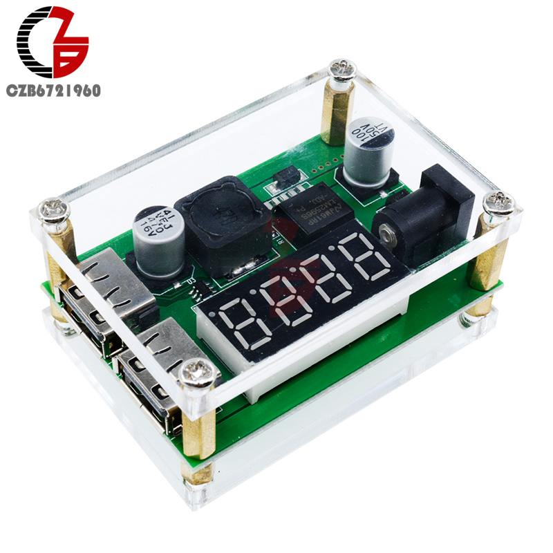 DC-DC 9V 12V 24V 36V to 5V 3A Digital LED Display Dual USB Step down Buck Converter Voltage Voltmeter Module w/ Protection Case free shipping dual voltage protection nibp module for patient monitor for adult pediatirc and neonate dc 12v cas module