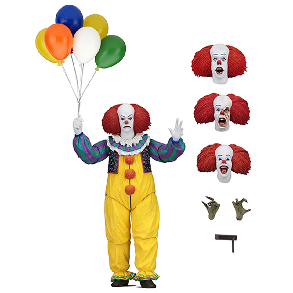 цены на NECA SHF IT Pennywise 1990 Stephen King's It Clown Model Collection For Halloween Decoration Gift Action Figure Toys в интернет-магазинах