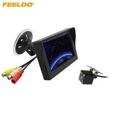 FEELDO Car 4.3 inch Digital Windshield LCD Monitor With 4-LED Reversing Backup Camera Rear View System #J-3866