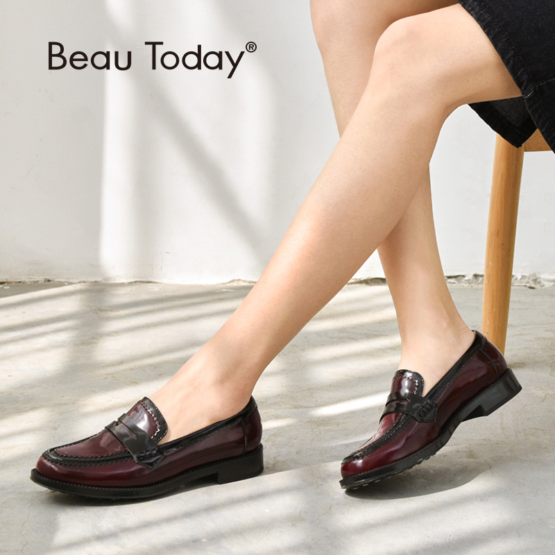 BeauToday Women Moccasin Loafers Genuine Leather Round Toe Slip-On Spring Autumn Female Shoes Handmade 27086BeauToday Women Moccasin Loafers Genuine Leather Round Toe Slip-On Spring Autumn Female Shoes Handmade 27086