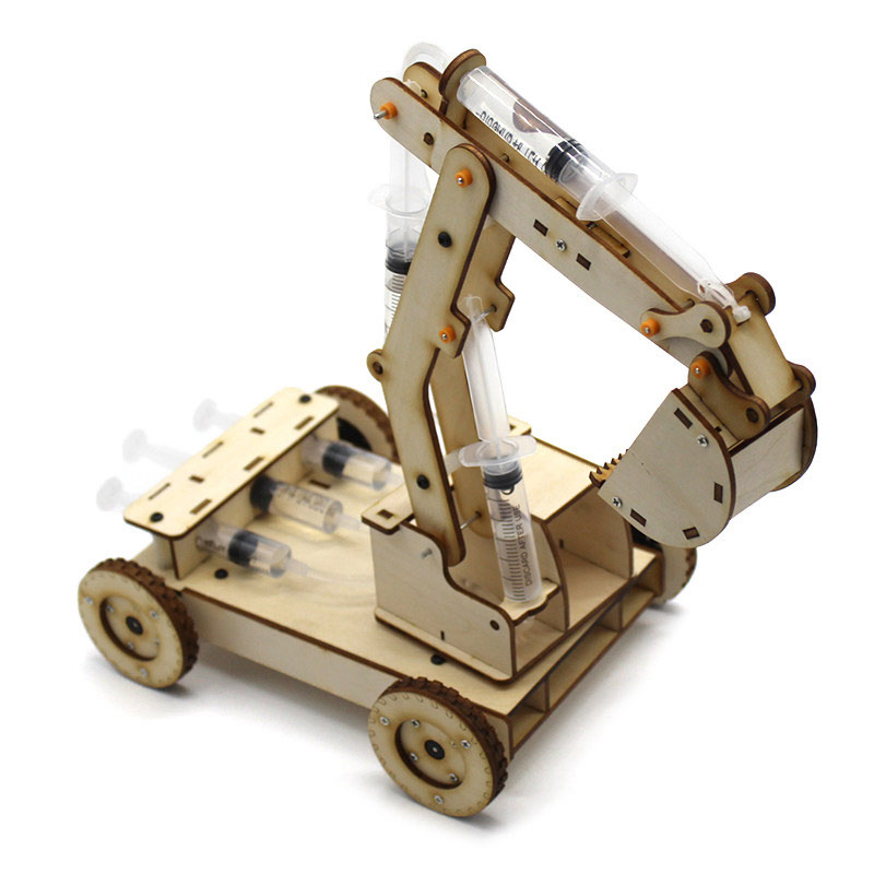 STEM Toys for Children Educational Science Experiment Technology Toy Set DIY Hydraulic Excavator Model Puzzle Painted Kids Toys