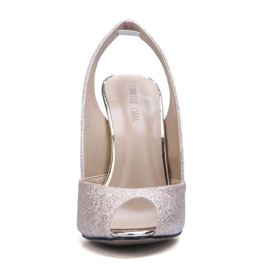 CHMILE CHAU Glitter Sexy Da Sposa Delle Donne Pompe Peep Toe Stiletto Ferro Tacco Alto Slingback Scarpa Della Signora Escarpins Artigli Femmes 3845-g9