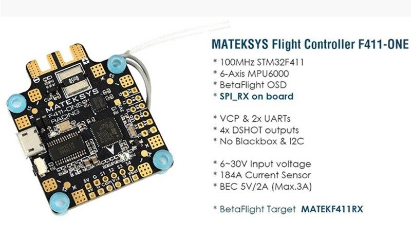 Matek F411-ONE F4 Flight Control FC Betaflight OSD 6-Axis MPU6000 Dshot Output Current Sensor BEC 5V/2A For FPV RC Racing Drone matek f405 with osd betaflight stm32f405 flight control board osd for fpv racing drone quadcopter