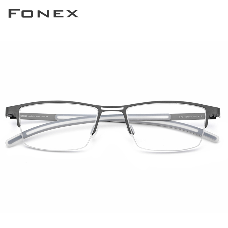 FONEX B titane lunettes cadre hommes 2019 nouveau Prescription lunettes pour les yeux Semi sans monture demi carré lunettes myopie optique-lunetterie - 2