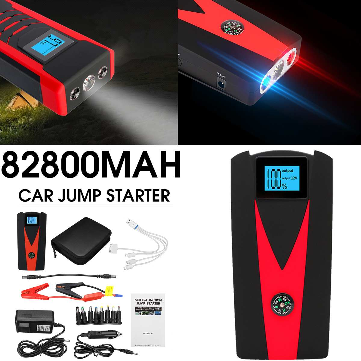 12V 82800mAh Portable Car Jump Starter Booster Battery Charger USB Charger Emergency Power Car LED For Starting Device