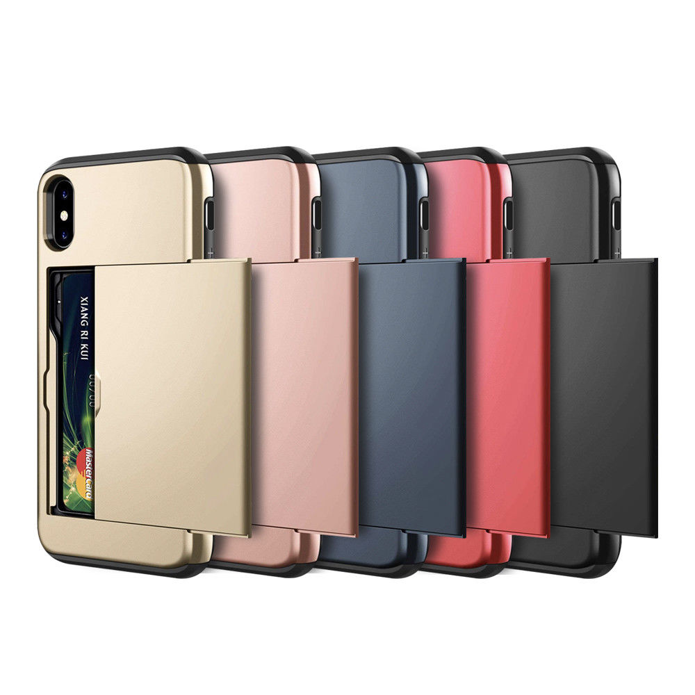 Business Phone Cases For iPhone X XS Max XR Case Slide Armor Wallet Card Slots Holder Cover for iPhone 7 8 Plus 6 6s 5 5S SE in Fitted Cases from Cellphones Telecommunications