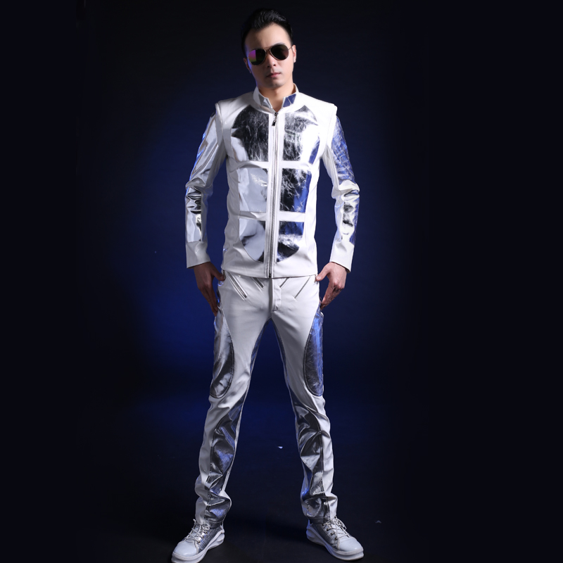 Sparkly Silver Sequin Jacket Long Pants For Male Singers Stage Costumes Nightclub DJ DS Bar Men's Fashion Dance Show Wear