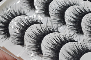 Image 4 - חדש 5 זוגות של ריסים טבעיים איפור פו ריסים ארוך שחור מלאכותי ריסים עבה ריס הרחבות איפור עד 005