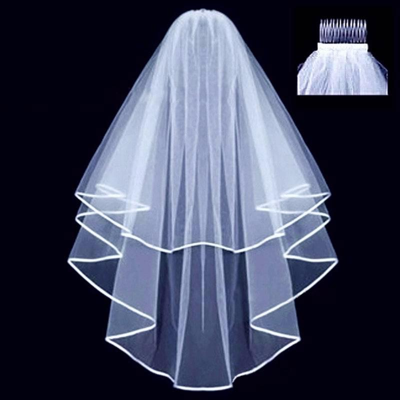 Wedding Simple Tulle White Color Two Layers Bridal Veil Ribbon Edge Cheap Bride Accessories Women Veil with Comb