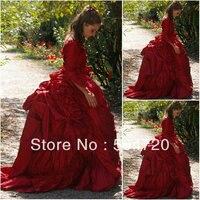 19 CenturyRed Chamelone Civil War Southern Belle Gown evening Dress/Victorian Dress Lolita dress US6 26 V 308