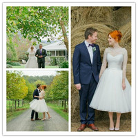 Bridal Dress Wedding Dress Tea Length A Line Vestidos Gowns 3 4 Sleeves Custom 2017