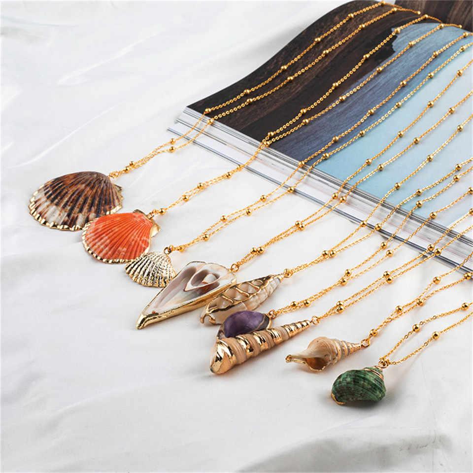 20 Kiểu Mặt dây Vỏ sò Vòng cổ ban đầu Nữ Tuyên bố Trang sức Hình học Nhiều lớp vỏ Dây chuyền cho phụ nữ