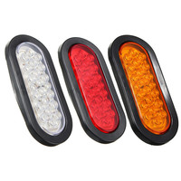 2Pcs 6 Inch Oval Oblong 22 LED Stop Turn Tail Light Sealed Surface Mount Trailer Truck