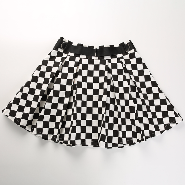 DICLOUD 2019 Pleated Checkerboard Skirts Womens Harajuku High Waisted Skirt Casual Dancing Korean Sweat Short Summer Mini Skirts 6