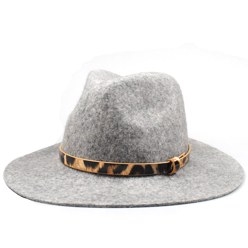 Pure Wool Fedora Hat large Brim Leopard band Hats for Men Floppy Top Hat High Quality