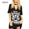 TQNFS 2017 Глубокий V Шея Женщины Shirt Dress Свободный Свободный с коротким Рукавом Печати Футболка Платья Женские Топы Дамы Мини Dress
