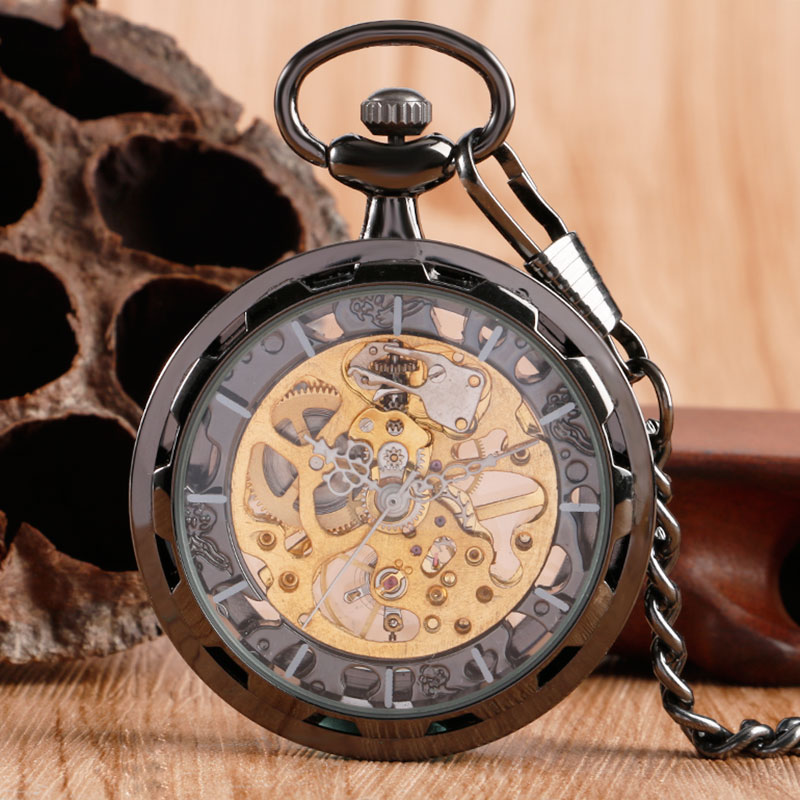 Luxury Skeleton Black Pocket Watch Transparent Open Face Design Fashion Vintage Windup Elegant Steampunk Pendant Fob Chian automatic mechanical pocket watches vintage transparent skeleton open face design fob watch pocket chain male reloj de bolso