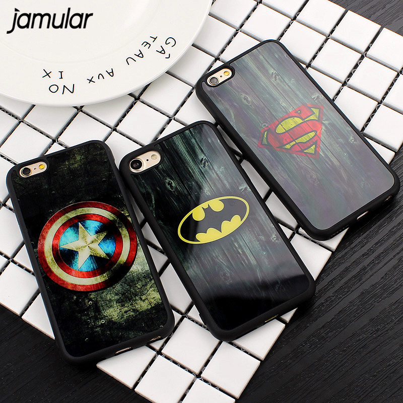 JAMULAR Superman Batman Mirror Soft Case For iPhone X 7 Plus 5S SE Camouflage Silicone Back Cover for iPhone 6 6s 7 8 Plus Cases