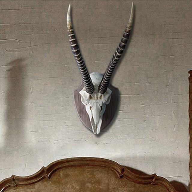 Vintage Resin Animal Skull Wall Decoration Antelope Creative Beast Ornament Hand Made Craft