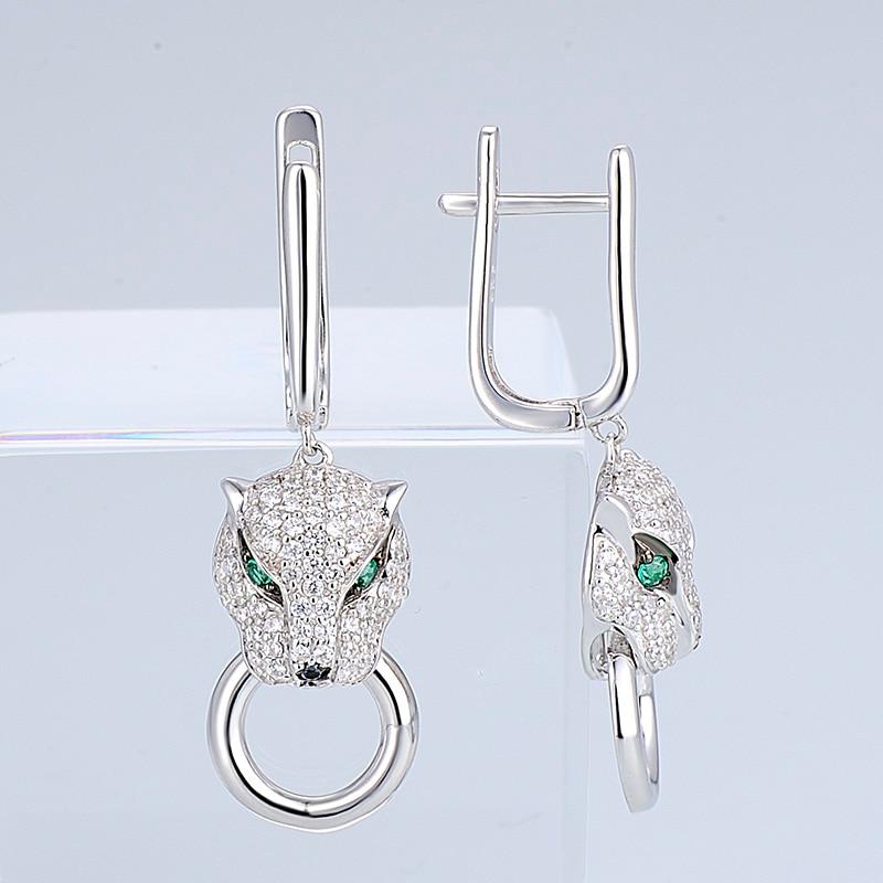 Image 3 - SANTUZZA Silver Earrings For Women Pure 925 Sterling Silver Dangle Panther Earrings Long Cubic Zirconia brincos Fashion Jewelry-in Drop Earrings from Jewelry & Accessories