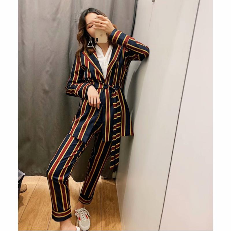 Female Set Pants Set 2019 Spring And Autumn New Women's Wild Striped Suit Jacket Casual Trousers Two-Piece