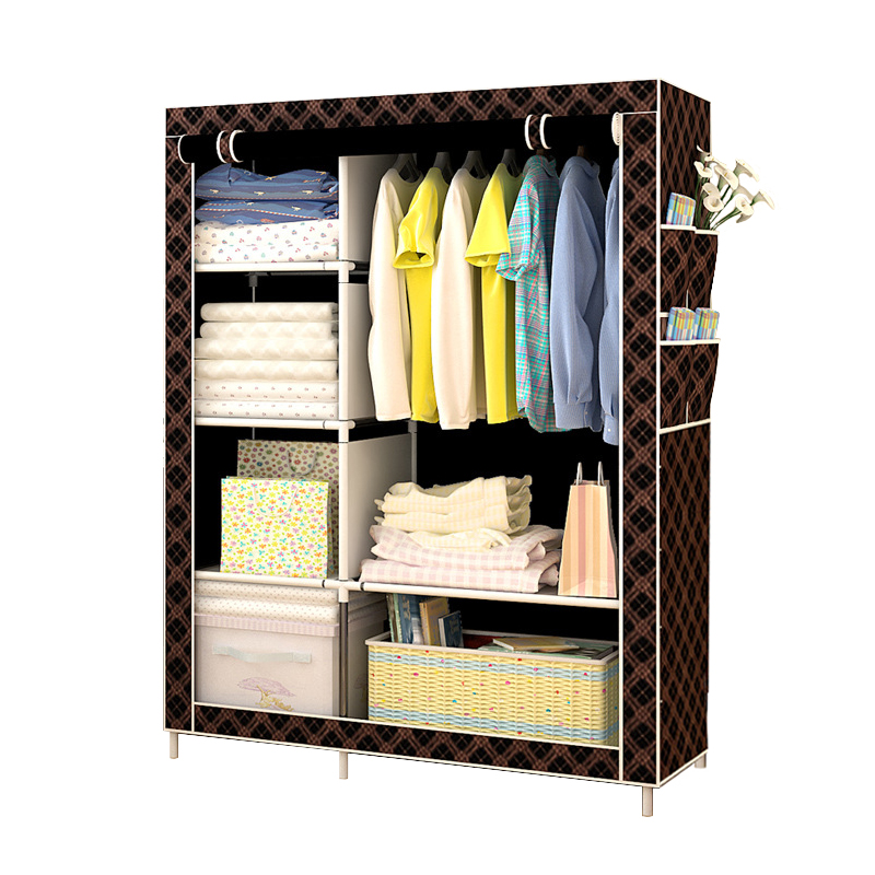 Non-woven Multifunction Wardrobe Closet Furniture Fabric Large Wardrobe Portable Folding Cloth Storage Cabinet Locker light blue stripe pattern off shoulder short sleeves playsuit