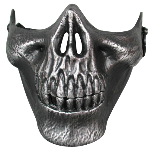 Airsoft Mask Skull Skeleton Half Face Protect Airsoft Mask (Silver )