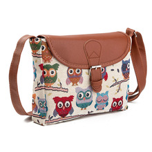 Women Messenger Bags Shoulder Cute Owl Printed Canvas Crossbody Female Luxury designer Handbags Summer Casual