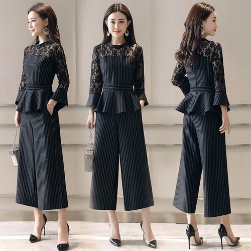 Tempérament Femelle Printemps La Femmes Nouvelle Pantalon Mince Large Été Western Costumes Mode Ont Taille Noir Style De Deux Marée pièce Grande Jambe 0q8Ar0