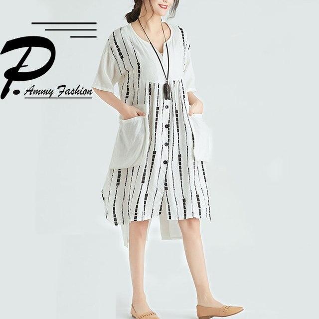 Quirky Lagenlook Asymmetrical hem Big Pockets Casual Flax A-Line Dress 2018 Plus Size Cotton&Linen Tunic Dress Summer Vestidos