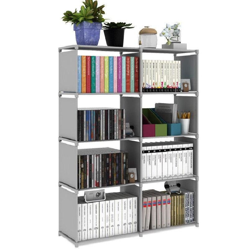 Fashion Double Row Bookshelf Nonwoven Fabric Easy Installation Book Stand Sundrise Storage Cabinet DIY Shelf Bookcase For Home