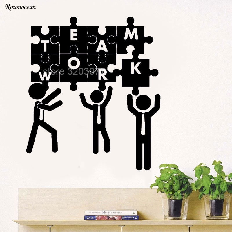 Teamwork Puzzle Office Decoration Vinyl Stickers Team Building Wall Decals Living Room Bedroom