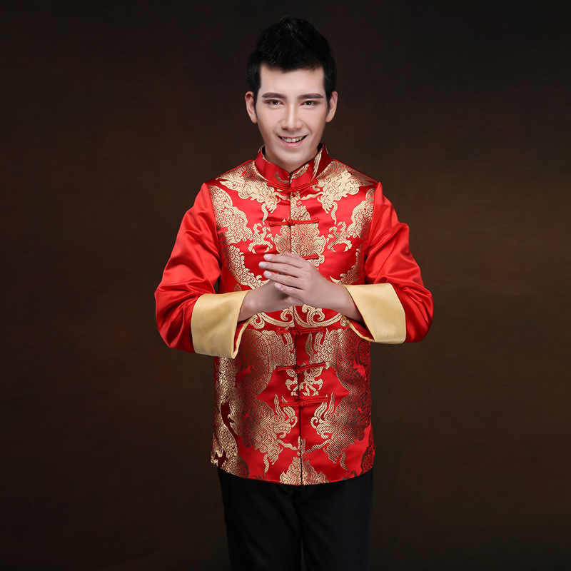 233e00471 Traditional Chinese Wedding Dress Men Cheongsam Long Sleeve Plus Size  National Grooms Coat Gold Brocade Gown