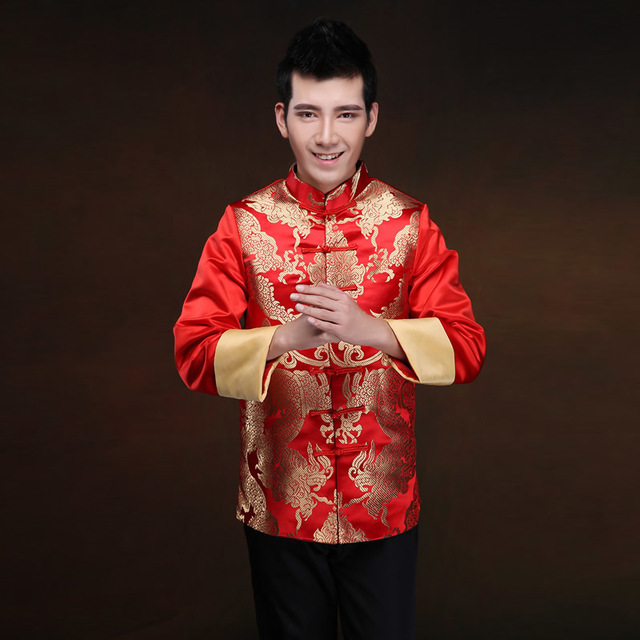 802a68f296d6d Traditional Chinese Wedding Dress Men Cheongsam Long Sleeve Plus Size  National Grooms Coat Gold Brocade Gown Red Satin Tops