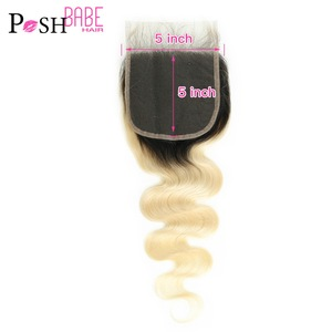POSH BABE Ombre Blonde Lace Closure 5*5 Two Tone Dark Roots 1B 613 Body Wave 8 - 22 inch Brazilian Hair Closure with Baby Hair(China)