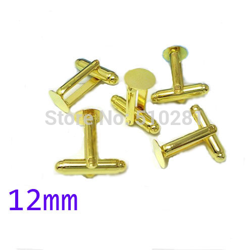 Gold Tone plated French Cuff Links With 12mm Round Flat Blank LK-2998