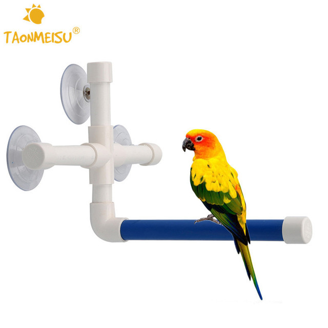 Pet Birds Folding Shower Perches Toys Bird Bath Standing Platform Rack Wall Suction Cup Parrot Budge Paw Grinding Stand Toy