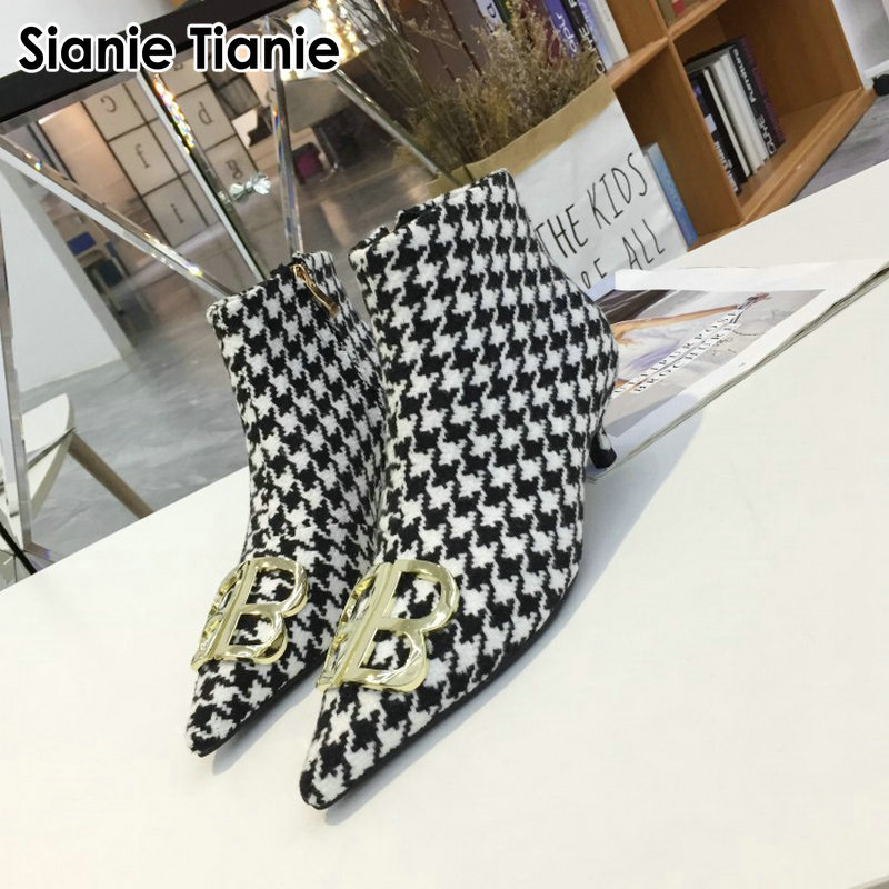 Sianie Tianie luxury brand pointed toe thin high heels woman shoes fashion plaid houndstooth checked ankle boots with metal deco