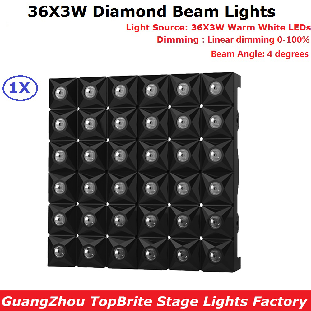 Professional LED Diamond Beam Lights 36X3W Warm White LED Stage Effect Lighting DMX512 Master-Slave Led Flat Panel For Discos