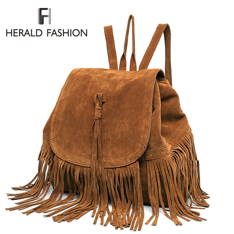 Casual Women Backpack Mini Tassels Rucksack Fashion Solid Women Shoulder Bag Satchel Faux Suede Leather Mochilas School Bag