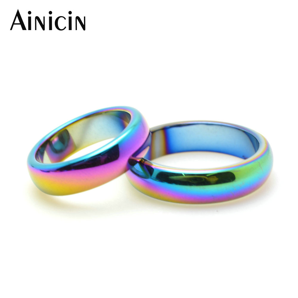 50pcs Rainbow Color Plated Hematite 6 10 Ring For Man and Women Fashion Party Jewelry
