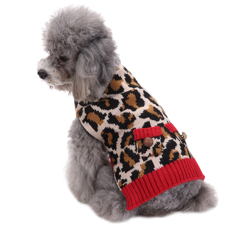 Pet Dog Clothes Big Dog Golden Retriever Dog Teddy Small Dog Leopard Sweater New Style A ...