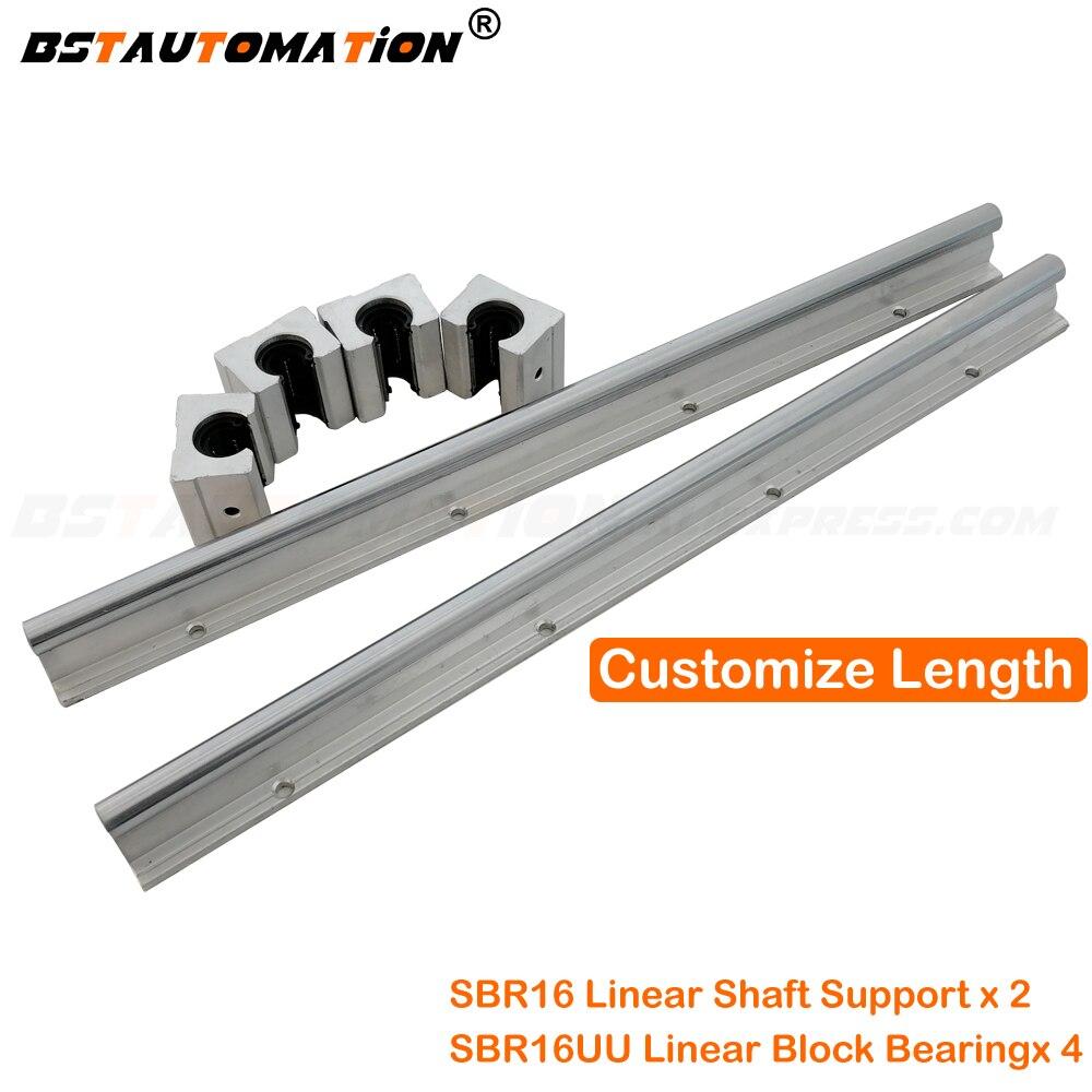 2 pièces SBR16 16mm de Guidage Linéaire 300 400 500 600 1000mm 1200 1500 mm Entièrement Glissière Support + 4 pièces SBR16UU Palier Linéaire