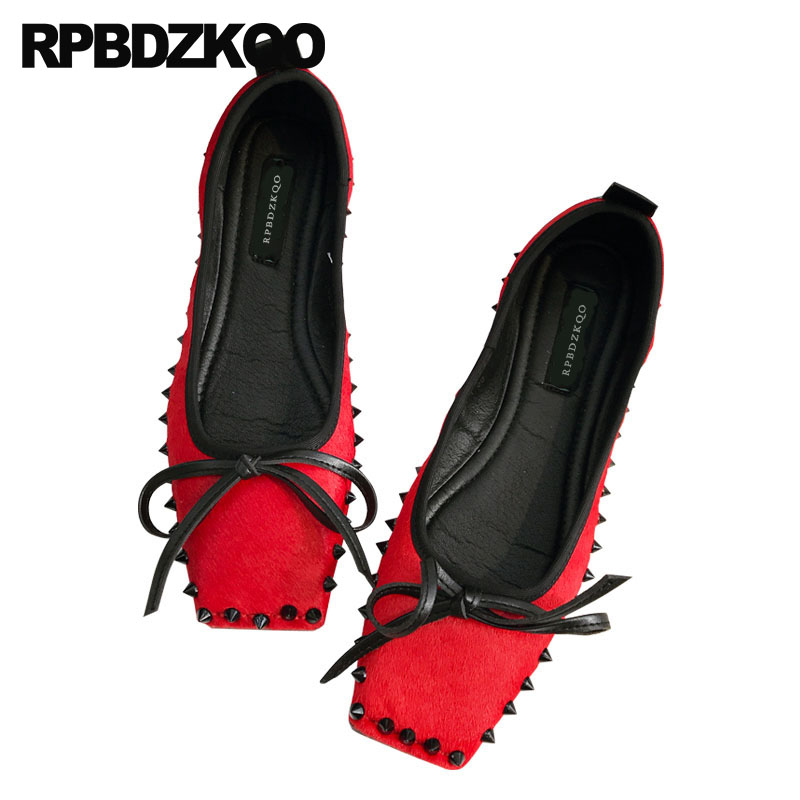 цена Chinese Metal Flats Wedding Bow Women Shoes With Little Cute Bowtie Rivet Unique Square Toe Handmade Black Chic Red Rock Stud