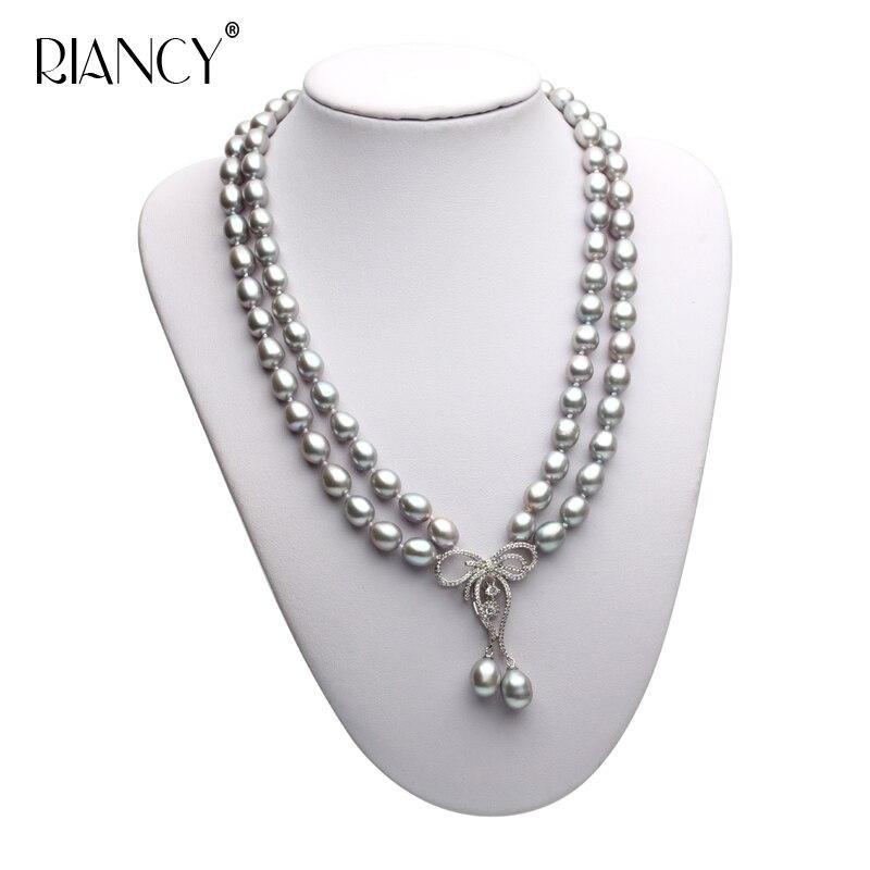 Haute qualité Double couche collier de perles 8-9 MM gris naturel perle d'eau douce Choker 925 argent pour les femmes classique perle bijoux