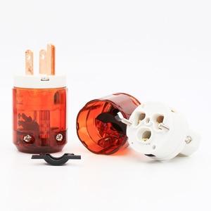 Image 3 - Free shipping 1 pair US plug P046+C046 Red Copper US AC Power Plug Audio Power Plug